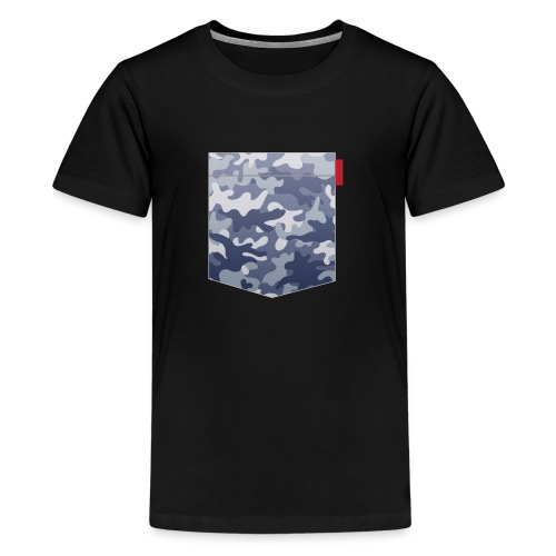 Blue Camo Pocket Patch - Teenage Premium T-Shirt