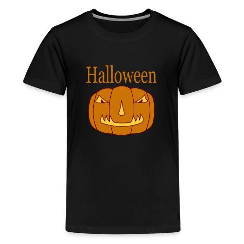 Halloween Kürbis mit Gruselmaske - Teenager Premium T-Shirt