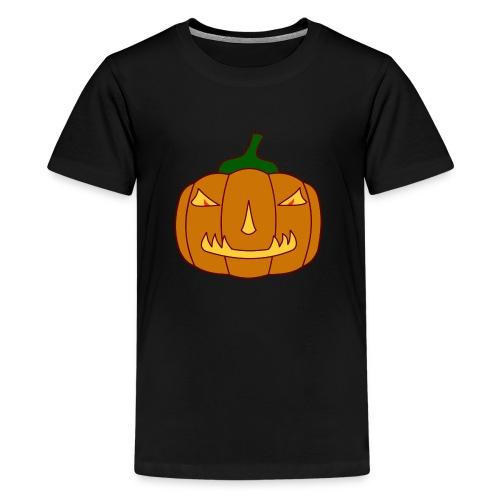 Halloween Kürbis mit Gruselgesicht - Teenager Premium T-Shirt