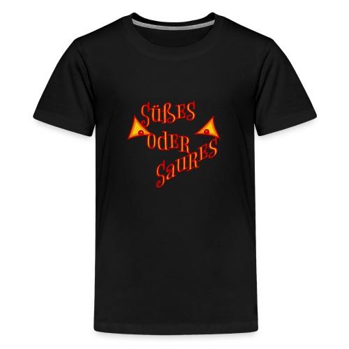 Halloween Süßes oder Saures mit bösen Augen - Teenager Premium T-Shirt