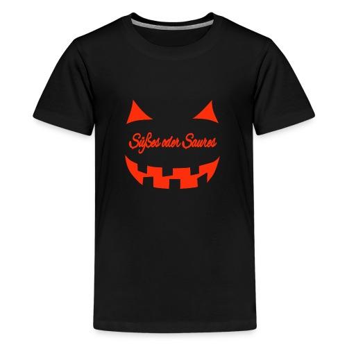Halloween Süßes oder Saures mit Gruselgesicht - Teenager Premium T-Shirt