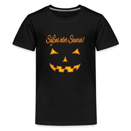 Süßes oder Saures mit Kürbisgesicht - Teenager Premium T-Shirt