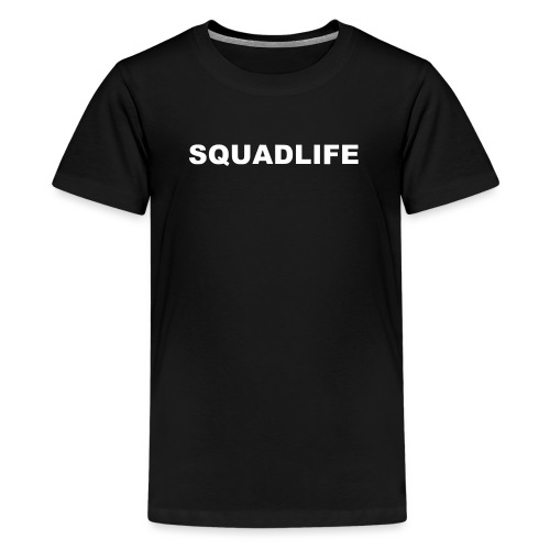 SQUADLIFE Schriftzug Design mit Rückendruck - Teenager Premium T-Shirt