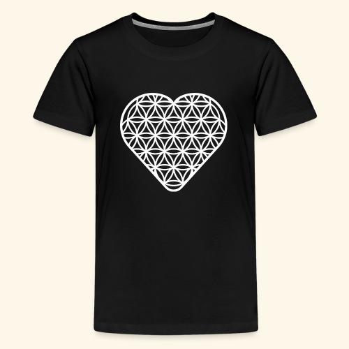 Lebensblume Herz white - Teenager Premium T-Shirt
