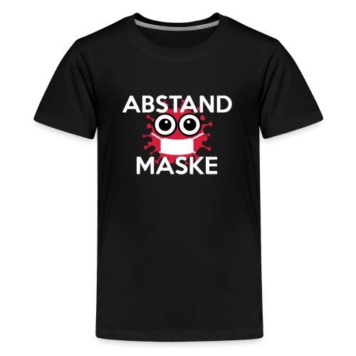 Mit Abstand und Maske gegen CORONA Virus- weiss - Teenager Premium T-Shirt