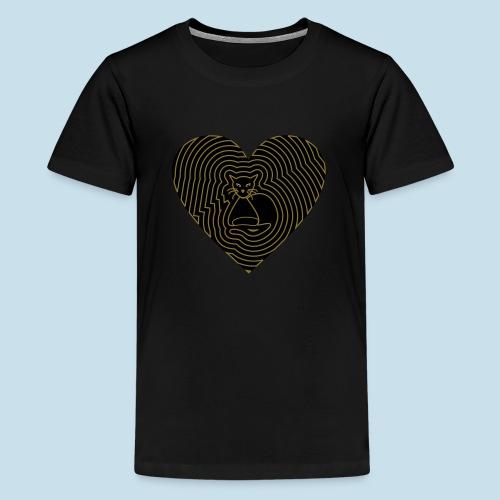 Katzen Herz Spirale 2 Färbig - Teenager Premium T-Shirt