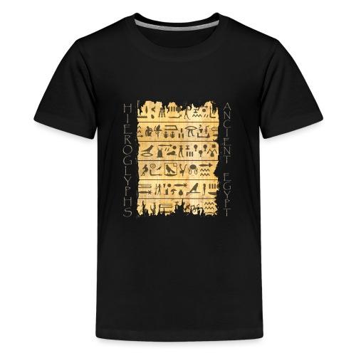 ausgerissener Papyri mit Hieroglyphen - Teenager Premium T-Shirt