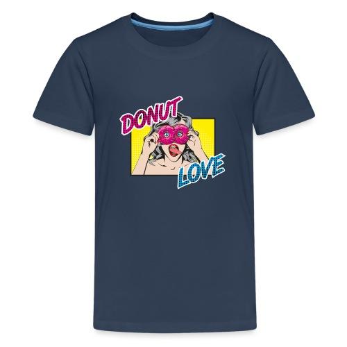 Popart - Donut Love - Zunge - Süßigkeit - Teenager Premium T-Shirt