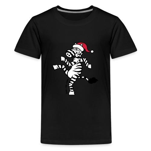 Christmas Zebra - Teenage Premium T-Shirt
