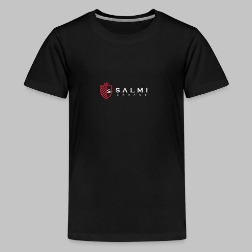 Salmi Garage Logo (Valkoinen Vaaka) - Teinien premium t-paita