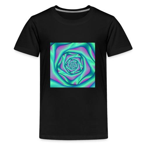 Silk Spiral Rose in Blue and Pink - Teenage Premium T-Shirt