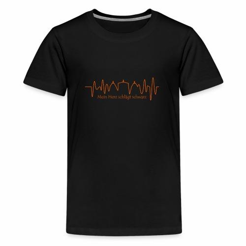 Mein Herz schlägt schwarz orange - Teenager Premium T-Shirt