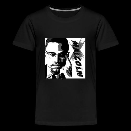 Malcom X Black and White - Teenager Premium T-Shirt