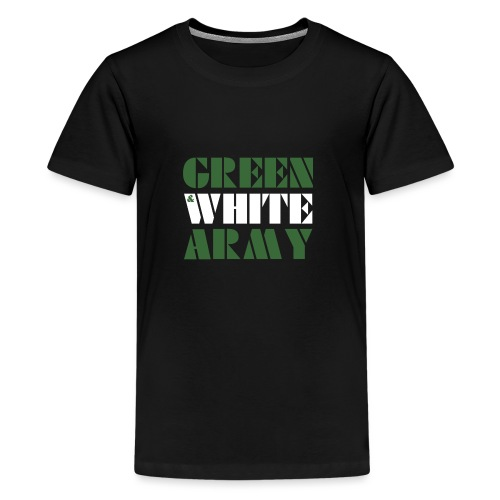 GREEN & WHITE ARMY _STENCIL_3 - Teenage Premium T-Shirt