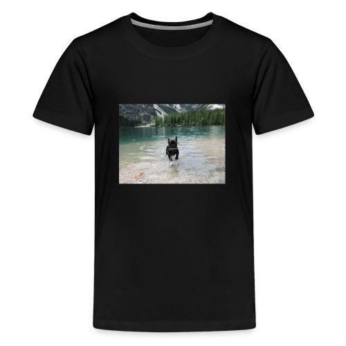 Hund spielt im Wasser - Teenager Premium T-Shirt