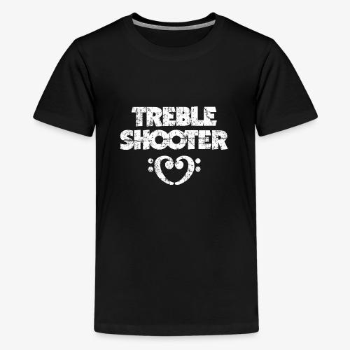 Treble Shooter Bass mit Herz (Vintage/Weiß) - Teenager Premium T-Shirt