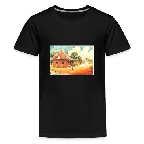 Rural African Village Scene Sofa pillow cover 44 x - Teenage Premium T-Shirt