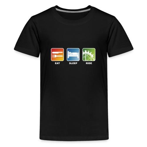 Eat, Sleep, Ride! - T-Shirt Schwarz - Teenager Premium T-Shirt