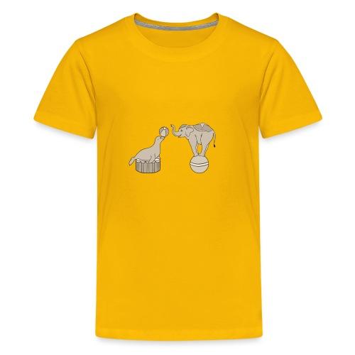 Circus elephant and seal - Teenage Premium T-Shirt