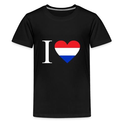 Ik hou van Nederland | Hart met rood wit blauw - Teenager Premium T-shirt