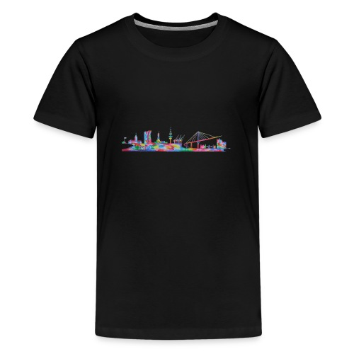 Hamburg Skyline gemalt in Acyl, Maxipike - Teenager Premium T-Shirt