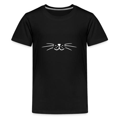 Moustache minimaliste chat (blanche) - T-shirt Premium Ado