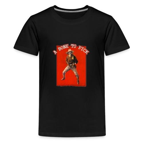 Vintage Skeleton Outlaw Cowboy - Teenage Premium T-Shirt