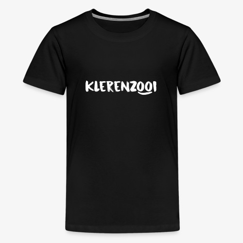 Zwarte kindercollectie met wit Klerenzooi logo - Teenager Premium T-shirt
