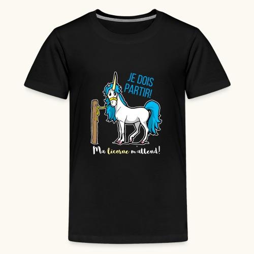 Lustiges Einhorn mit Spruch Französisch Geschenk - T-shirt Premium Ado