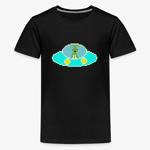 Fliegende Untertasse Pixel Art - Teenager Premium T-Shirt