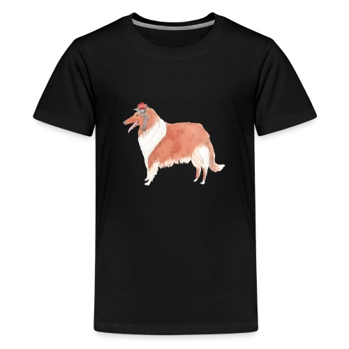 collie with flower - Teenager premium T-shirt