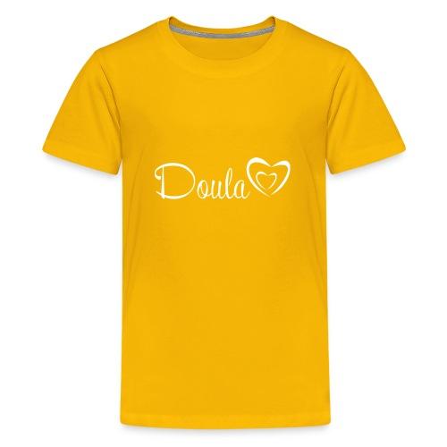 doula sydämet valkoinen - Teinien premium t-paita