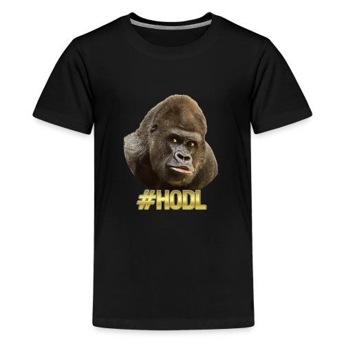 Gorilla #HODL Gold - Teenager Premium T-Shirt
