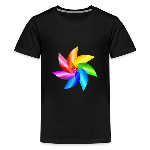 bunte Windmühle Kinderspielzeug Regenbogen Sommer - Teenage Premium T-Shirt