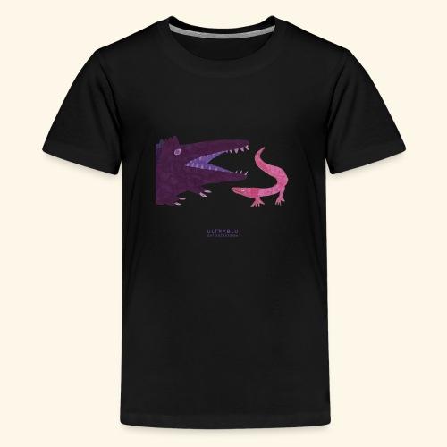 Purple crocodile and pink lizard - Teenage Premium T-Shirt