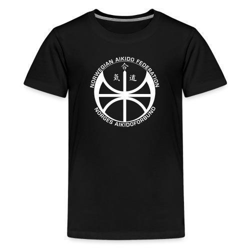 Hvit NAF logo - Premium T-skjorte for tenåringer