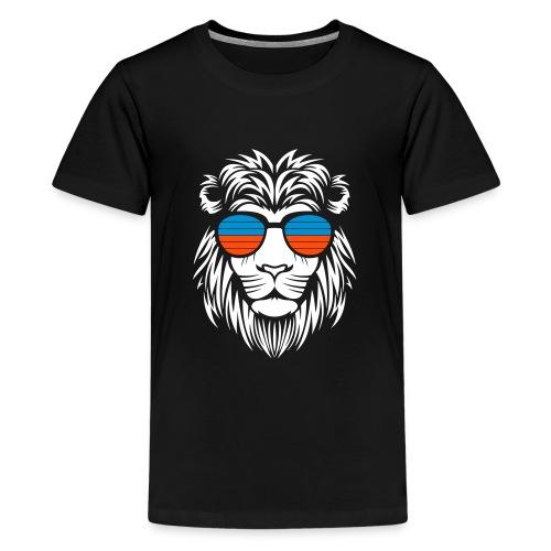 Retro Lion Sunglass 2 - Teenager Premium T-Shirt