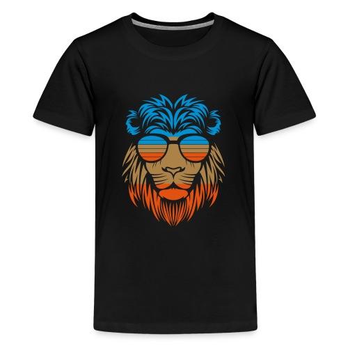 Retro Lion Sunglass - Teenager Premium T-Shirt