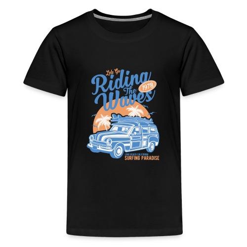 Ladies Surf Style T-shirt - Riding the Waves - Teenage Premium T-Shirt