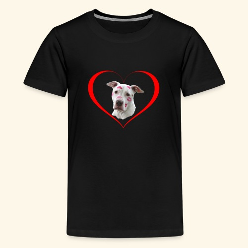 weisser Pit bull Herz Kuss - Teenager Premium T-Shirt