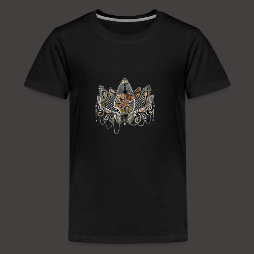 Oeil dentelle Orange Version Noir - T-shirt Premium Ado