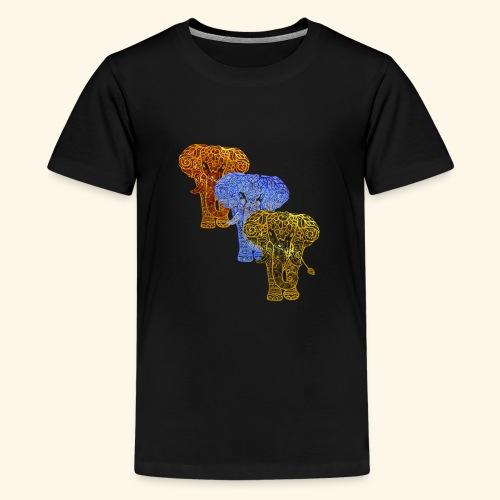 Henna Elephant Mehndi - Teenage Premium T-Shirt