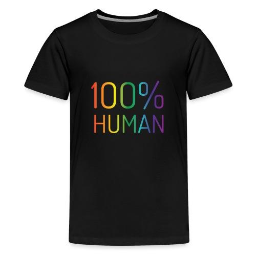 100% Human in regenboog kleuren - Teenager Premium T-shirt