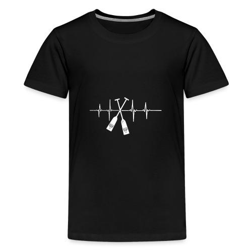 Drachenboot Paddel EKG Herzschlag - Teenager Premium T-Shirt