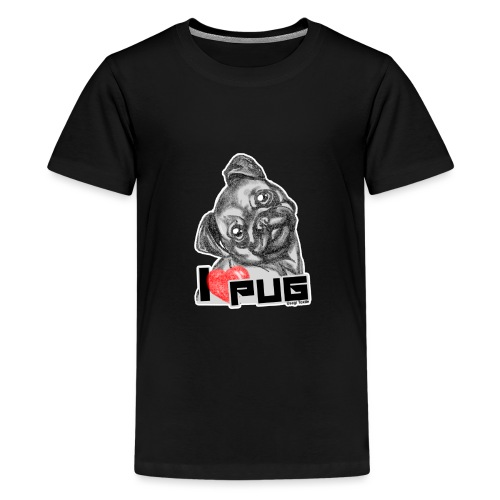 i love pug - Camiseta premium adolescente