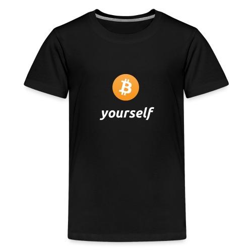 cryptocool b yourself white font -bitcoin logo - Teenager Premium T-shirt
