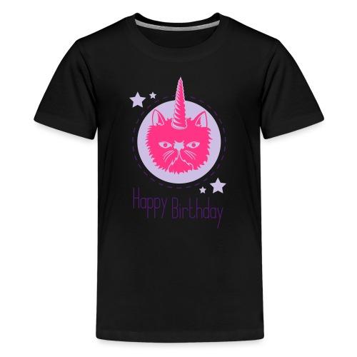 Einhorn- Katze - Teenager Premium T-Shirt
