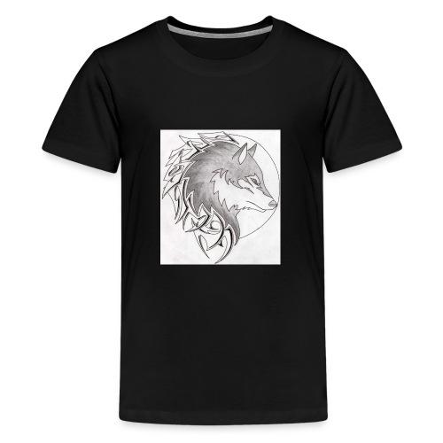 wolf_i_a_moon_tribal_tatt - Teenager Premium T-Shirt