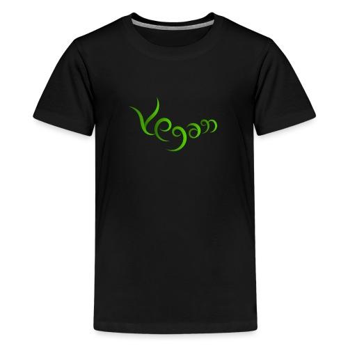 Vegaani käsinkirjoitettu design - Teinien premium t-paita