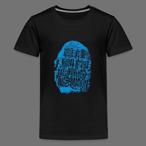 Sormenjälki DNA (sininen) - Teinien premium t-paita